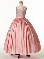 pembe tafta elbisesi çiçek toptan satış-Güzel Pembe Tafta Sapanlar Boncuk Çiçek Kız Elbise Kız 'Pageant elbise Doğum Günü Tatil Elbiseler Özel Boyut 2-14 FF726015