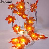 Wholesale Leaf Light String - Wholesale- Jiaderui Novelty Maple Leaf Garland LED Fairy String Light Christmas Decor Battery New Year Party Decor Light Flower Arrangement