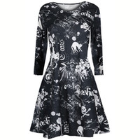 Wholesale 2018 Holloween Dresses Women Bat Spider Print Dress long sleeved pumpkin print dress