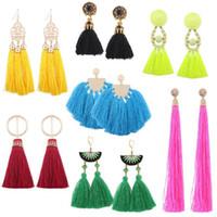Wholesale Rope Chandeliers - 6PAIRS Tassel Earrings For Women Ethnic Big Drop Earrings Bohemia Fashion Jewelry Trendy Cotton Rope Fringe Long Dangle Earrings