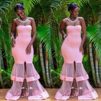 Wholesale nude bandage dress sleeves - 2018 new african special tulle train design mermaid Evening Dresses Sweetheart floor length Prom Dress Front Split gowns A Line cheap dress