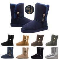 botas de lentejuelas azules al por mayor-UGG Women's Bailey Button Sparkles Boots Botas de lentejuelas con brillo corto para mujer Diseñador WGG Botas de nieve de invierno Negro Azul Rojo Dorado Plata Botones con botones de bota 36-41
