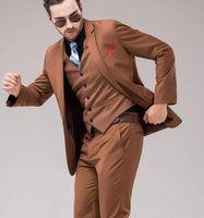 Wholesale Men S Marriage Suits - Men's Fashion Brown Men Suits Slim Fit Tailor Made Groom Prom Blazer Costume Marriage Homme 3 Piece Male Tuxedo Jacket+Pant+Vest