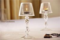 candelabros de vidrio pilar al por mayor-Moderno Cristal Candelabros de Cristal 18.5 cm Candelabro De Cristal Decoración Del Hogar Lámpara de Mesa Pilar Sostenedor de Vela Soporte de Partido Favor de la Boda regalo