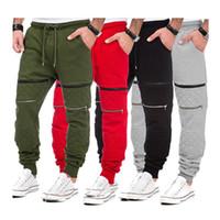 Wholesale hip hop harem pants - Hip Hop Mens Jogger Pants Fashion Slim Fit Casual Harem Pants Elastic Waist Zippers Design Long Trousers