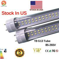 Wholesale bulb stock online - Stock in US LED T8 Tube FT W G13 LEDS Light Lamp Bulb feet m Double row V led lighting fluorescent