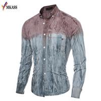 kot ince elbise toptan satış-2018 Slim Fit Denim Gömlek Erkekler Degrade Renk Rahat Giyim Uzun Kollu adamın Elbise Moda Yumuşak Patchwork Gömlek