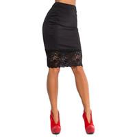 falda lápiz de encaje beige al por mayor-2018 Summer Women Lápiz Falda Sexy Mujer Stretch Ladies Crochet Lace cintura alta Mini Oficina Blck Bodycon Boho Falda
