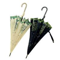 стрекоза зонт оптовых-Длинная ручка зонтик лук японские женщины дождь зонтик Стрекоза ПУ изогнутая ручка девушки дерево лес красный дождь передач Бесплатная доставка