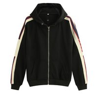 zip animal venda por atacado-gucci Preto Luxurys Itália Designers Moda Marcas Novo JAQUETA SWEETS UP MOLETOM BORDADO COM logotipo STRIPE Hoodies dos homens mulheres off Camisolas man clothing