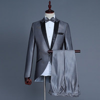 Wholesale Shiny Slim Fit Suits - PYJTRL New Fashion Shiny Silver Wedding Groom Tailcoat Tuxedo Stage Singer Costume Terno Slim Fit Smoking Masculino Mens Suits