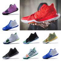 Wholesale Christmas Punches - 2018 New arrival Kyrie Irving 3 Hot Punch Team Red Christmas Mens Basketball Shoes Top quality Kyrie 3 Air Cushion Sport Sneakers 40-46