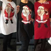 frauen weihnachten verkleiden sich groihandel-10 Arten Mädchen Weihnachtsferien Weihnachtsbaum Santas voll gedruckt Frauen Dame X'mas kleiden Cosplay Röcke lange Ärmel Schneemann Kleid