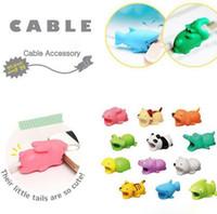 iphone lightning cable protector 도매-케이블 물린 귀여운 동물 USB 케이블 보호기 번개 충전기 데이터 코드 보호기 아이폰에 대한 보호용 이어폰 보호대 노트북 소매 박스