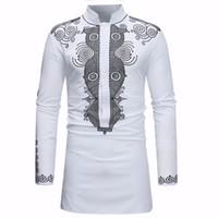 майки для мужчин оптовых-African Dashiki Shirt Men 2018 Spring Autumn New Stand Collar Long Sleeve Shirt Men Casual African Clothing Camisas Para Hombre