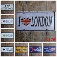 Wholesale Posters Banners - 30*15cm Iron Paintings I Love London Norway Sweden Finland License Plate Tin Sign The USA Star Spangled Banner Tin Poster 3 99lI B