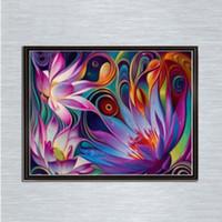 Wholesale home wall art painting for sale - Fantastic cm Rainbow Lotus Full D Diamond Painting Kit Decoración Del Hog Home Decor Wall Art Square Diamond Craft Supplies