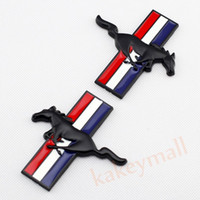 Wholesale mustangs accessories - 2pcs Black D Decal Sticker Car Badge Logo For Ford Mustang Emblem Accessories