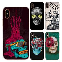 Wholesale grey green paint color - For Apple iphone X 8 7 6 6S Plus 4S 5C 5S Case Cover Soft TPU Silicone Cool Color Glasses Rose Flower Skull Skeleton Painted Phone Shell