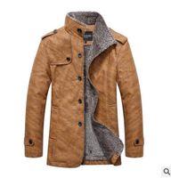 abrigos de oveja al por mayor-Moda-2019 ¡CALIENTE! Invierno cálido motocicleta Chaqueta de cuero Chaqueta de marca casual para hombres de piel de oveja de lujo Abrigo de piel para hombres Envío gratis 1