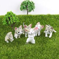 ingrosso ornamenti giardino gatti-6pcs / set Kawayi Mini Cat Moss Micro World Bonsai Garden Piccolo ornamento Paesaggio Decorazione del giardino di casa