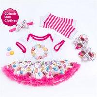 Wholesale reborn doll dresses - NPK Reborn Baby Doll Clothes Princess Dress Fit For 55cm Baby Dolls Colorful Clothes For 22inch Reborn Dolls With Doll Shoes