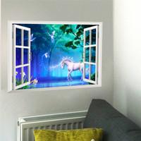 duvar çıkartması kanepe toptan satış-3d etkisi pencere Unicorn At Duvar Çıkartmaları Çocuk Odaları için Oturma Odası Yatak Odası Duvar Çıkartması Sanat Posteri Duvar Kanepe ...