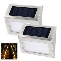 dış mekan led paneller toptan satış-Güneş Paneli Güç 3 LED Adım Işık Güvenlik Bahçe Duvar Yolu Açık Lamba 2 adet