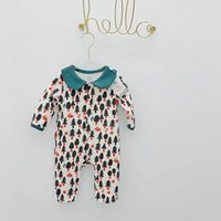 kids clothes trees 2018 - INS baby kids clothing romper pet pan collar long sleeve spring fall 100% cotton tree print warm romper