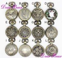 ingrosso collane in ottone antico-Collana di orologio da tasca in filigrana d'ottone antico in ottone, 12pcs / lot, nave libera, 2.7cm, APW016, dandys