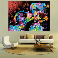 Wholesale large decorative wall posters resale online - Large size Print Oil Painting Wall painting Puppy Love Home Decorative Wall Art Picture For Living Room paintng No Frame Y18102209