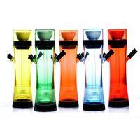 Wholesale shape hose online - Hot Colorful Acrylic Hookah Shisha Smoking Pipe One Hose Kit Sets Cup Shape Innovative Design Portable Illuminate Remote Night Light