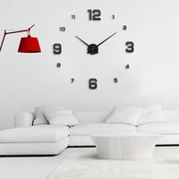зеленые часы оптовых-MUHSEIN новая гостиная diy большие настенные часы настенные наклейки часы 3D стекло зеркало EVA зеленый кварц тихое движение бесплатная доставка