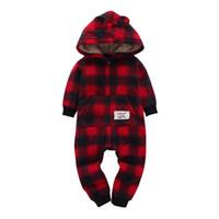 ropa de dormir de invierno recién nacido al por mayor-2018 AutumnWinter Baby Boy Clothes Baby Rompers Fleece Ropa de recién nacido One Piece girl clothes Romper Hooded Sleepwear