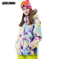 сноубординг лыжная одежда оптовых-GSOU SNOW  Women Ski Jacket Women Snowboard Jacket Waterproof Cheap Skiing Snow Coat Winter Outdoor Snowboarding Clothes