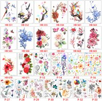 tatuaje de ave al por mayor-Flower Bird Decal 20 unids / lote Mujeres Falsas Hombres DIY Henna Body Art Tattoo Design HB556 Mariposa Rama de Árbol Vivo Etiqueta Engomada Del Tatuaje Temporal