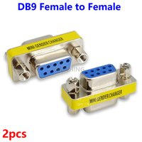 Wholesale Rs232 Db9 Female - Wholesale- 2pcs New 9Pin RS232 Serial Port Connector Adapter DB9 Female to Female Plug Connecter 9 Pin RS232 COM Socket Adapter HY497*2