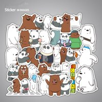 Wholesale toy suitcases - 36pcs pack Cartoon Cute Naked Bear Stickers For Suitcase Skateboard Laptop Toys Flash Graffiti Decals F3