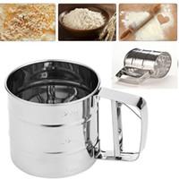 tamiz en polvo al por mayor-Taza de tamiz de acero inoxidable en polvo de harina Criba de malla herramientas para hornear para pasteles que adorna las herramientas de pastelería para hornear