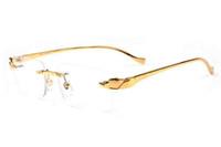 Wholesale cat eye sunglasses leopard brown resale online - Brand Designer Rimless Sunglasses For Men Womens Leopard Gold Metal Legs Men Women Fashion Buffalo Horn Glasses Sunglasses gafas de sol