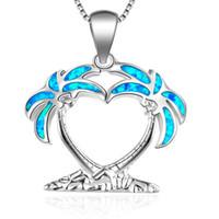 Wholesale blue fire opal pendants resale online - Fashion Blue Fire Opal Beach Coconut Tree Chain Pendants Necklaces For Women Silver Palm Wedding Necklace Summer Jewelry