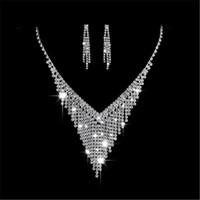 ohrringe großhandel-Partyfareast Einfache Ebene Ohrstecker Halskette Frauen Hochzeit Schmuck Sets Halskette Ohrring Brautschmuck Schmuck Sets
