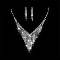 ingrosso orecchini di livello-Partyfareast Orecchini a lobo di livello semplice Collana Set di gioielli da sposa per donna Collana Orecchini Accessori da sposa Set di gioielli