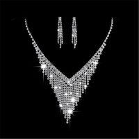 pendientes de nivel al por mayor-Partyfareast Simple Level Stud Earrings Collar Mujeres Conjuntos de joyas de boda Collar Pendiente Accesorios nupciales Conjuntos de joyas