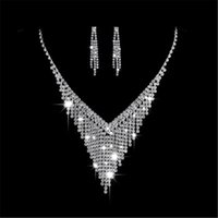 Wholesale level earrings resale online - Partyfareast Simple Level Stud Earrings Necklace Women Wedding Jewelry Sets Necklace Earring Bridal Accessories Jewelry Sets