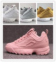 Wholesale Thick Bottoms Shoes - Disruptores II 2 retro height casual shoes Increase Platform sneakers Thick bottom, pink all white gray gold,with box