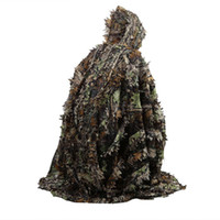 ingrosso caccia 3d camouflage-Outdoor 3D Foglie Camouflage Ghillie Poncho Camo Mantello del capo Stealth Ghillie Suit CS Woodland Hunting Poncho Cloak