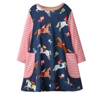 Wholesale horse children clothing - Horse Printed Girl Tunic Dress Animals Appliqued New Baby Clothing Children Princess Dress for Kids Long Sleeve Clothing