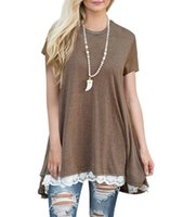 Wholesale Low Quality T Shirts - Prefer A+++ Women Pro Tshirts With Polyester High Quality Fashion Sexy Loose Clothing Round collar spliced lace T - shirt Low Price Summer