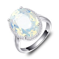6 Pcs 1 lot Luckyshine Classic Jewelry Fire Oval White Moonstone Crystal Gems 925 Silver Wedding Party Woman Ring